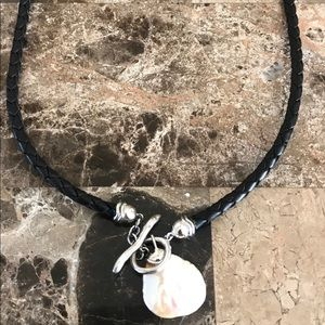 Honora mother of pearl leather corded necklace